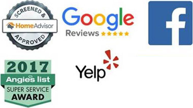 home advisor logo, google reviews logo, facebook logo, angies list logo, yelp logo, bbb logo